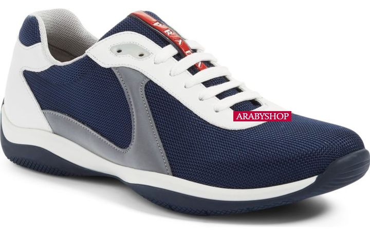6. Prada 'Linea Rossa' Designer Sneakers in Denim Blue