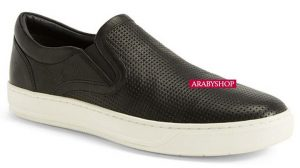 9. Vince Ace Perforated Black Leather Slip-On Sneakers
